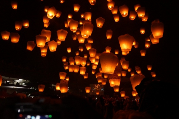 Cameras start clicking as dozens of lanterns float in the air.