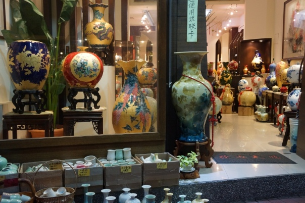There's a wide array of ceramics to check out, from high priced decorations to kitchen wares to art pieces.