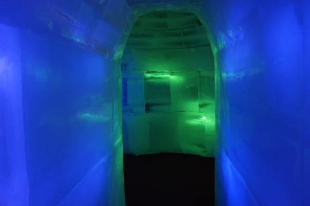 A shot from inside an igloo.