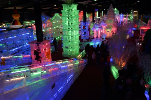 An overview of the ice sculptures from the slide at Fantasy Ice World 台北冰雪世界.