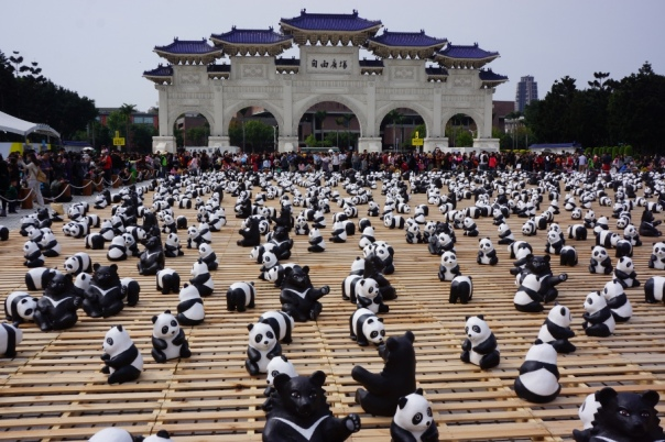 Formosan black bears join the parade at Chiang Kai-Shek Memorial Hall.