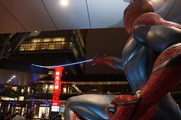 Spider-Man getting ready to swing through Taipei's Shin Kong Mitsukoshi department store.