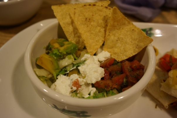 Along with my veggie wrap came this salad.  Dishes typically come with a few things to add something else to the entree.