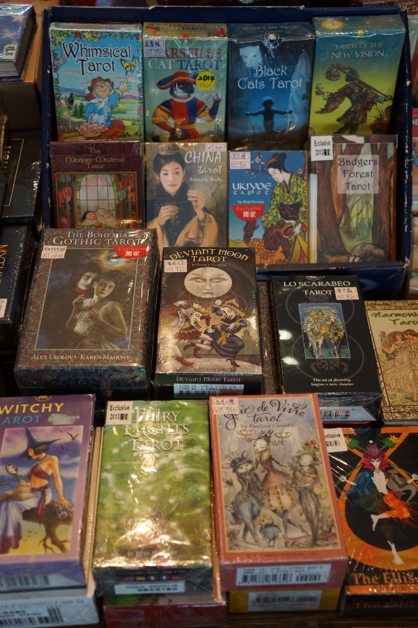 The gift shop has a lot of pricey, themed tarot cards.