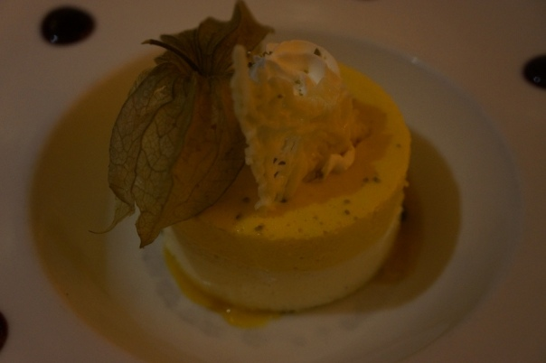 The silky mango mousse was quite good, though it took a while to get.