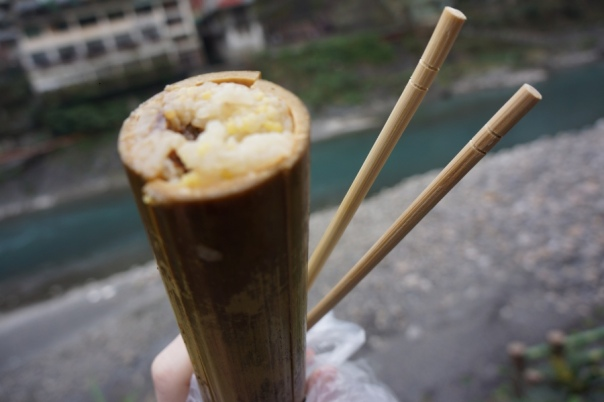A popular snack is bamboo tube rice.  Sorry for the poor image quality, I didn't know how to work the macro on my camera at this time!