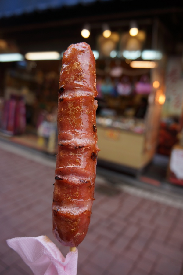 You should definitely grab a boar sausage if you come to Wulai.