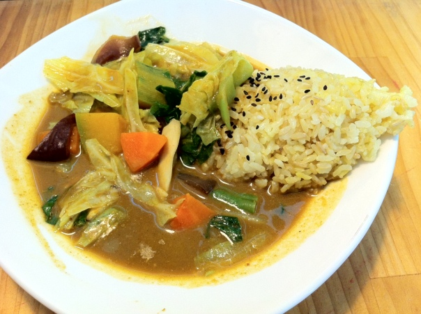 A fanciful looking curry rice dish.
