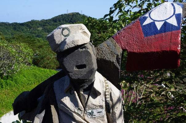 A soldier with the Taiwanese flag.