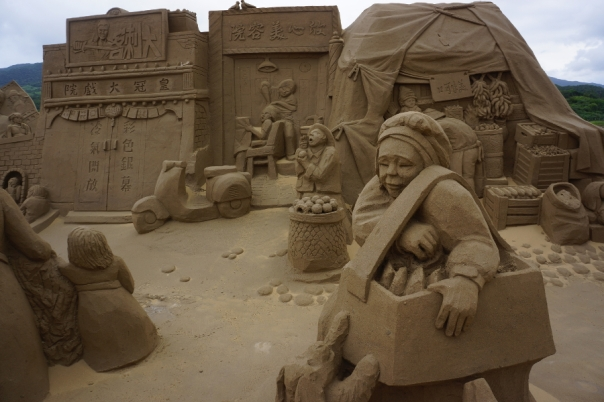 You can see elaborate sand sculptures of all types at the Fulong International Sand Sculpture Art Festival 福隆沙雕藝術季 in New Taipei City.